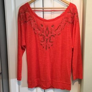 Miss Me Red Embellished Low Back Top